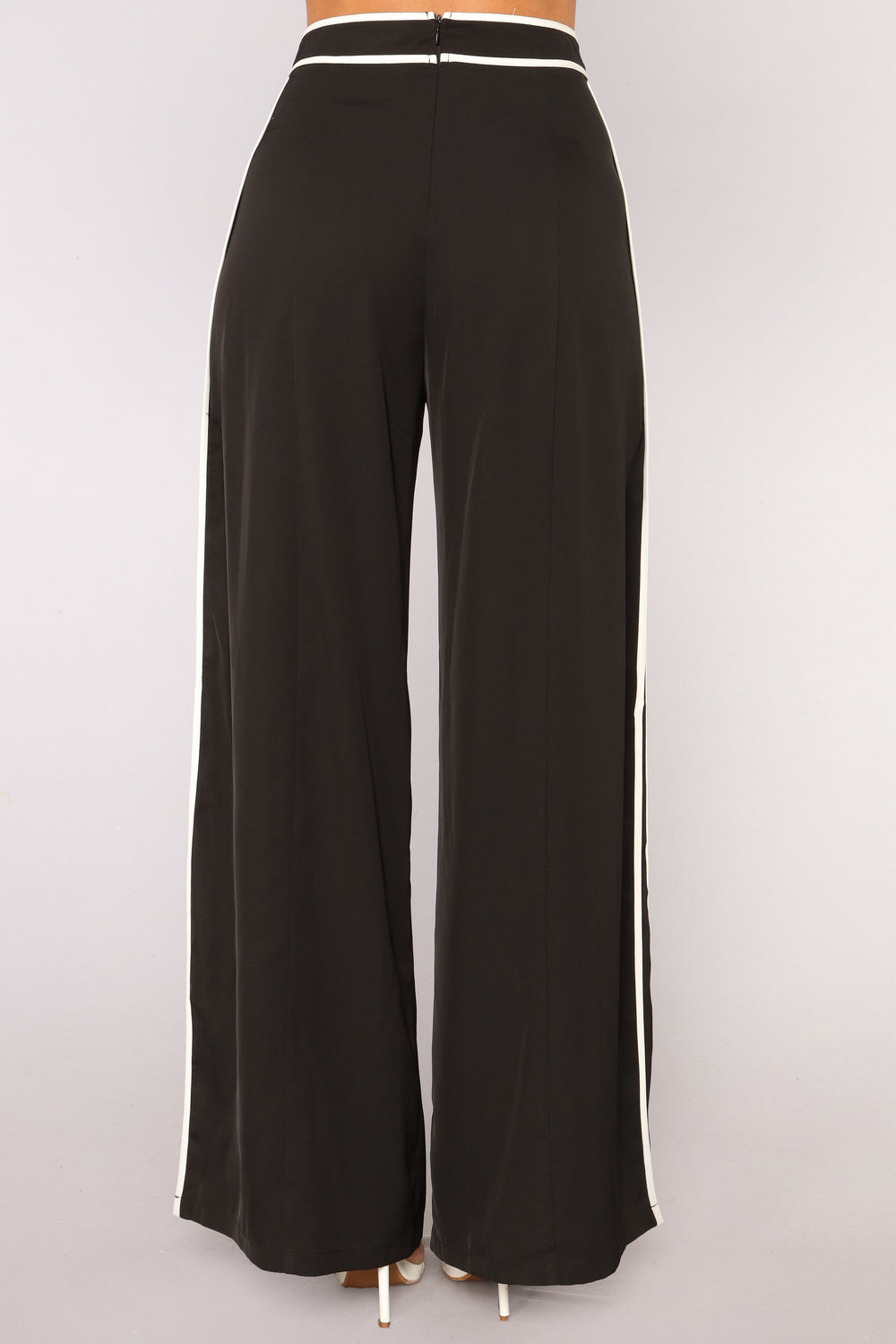 Catalina Wide Slit Pants - Black White