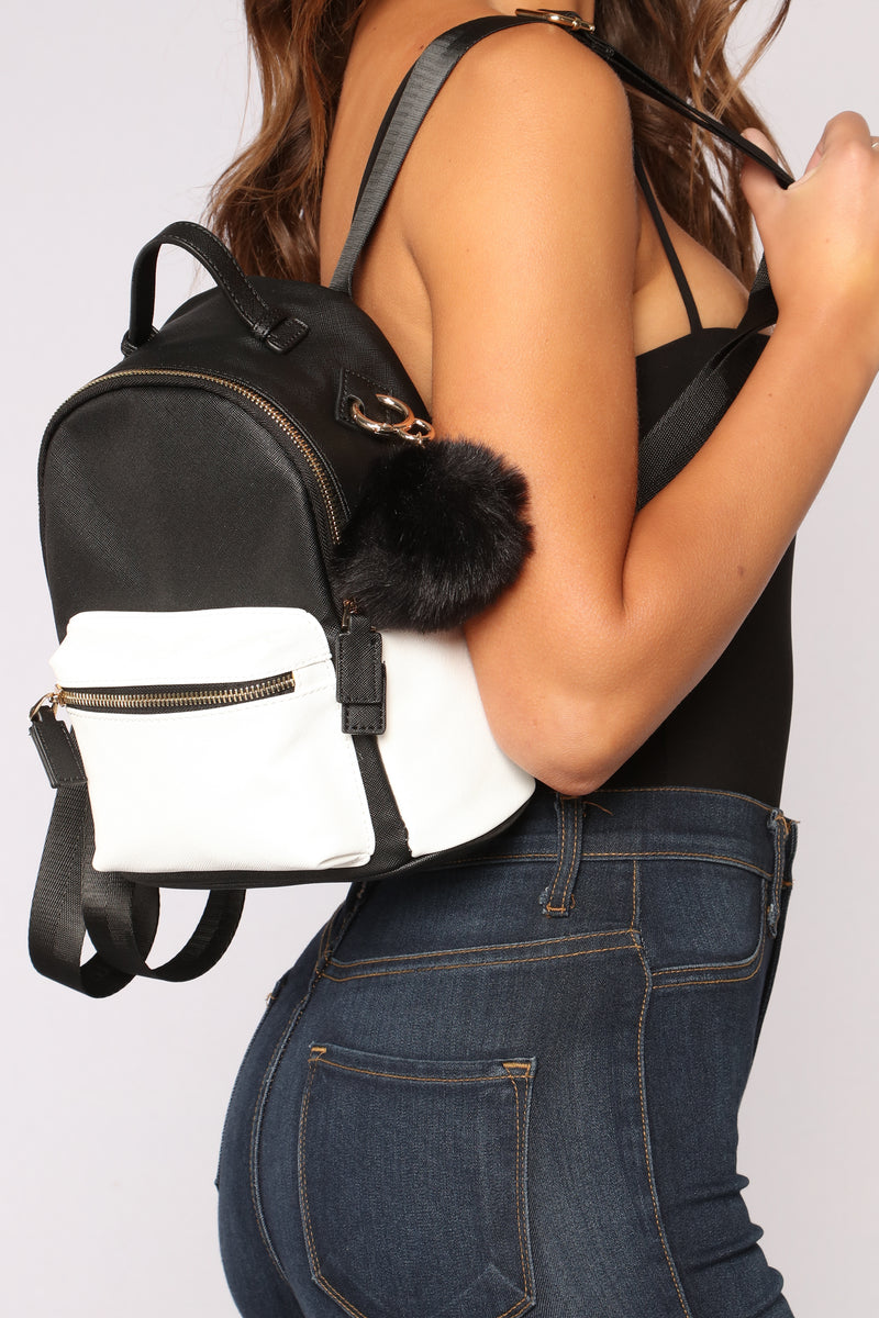 Pom Of Your Hands Backpack - Black/White