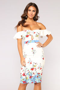 Lily Floral Dress - White Floral
