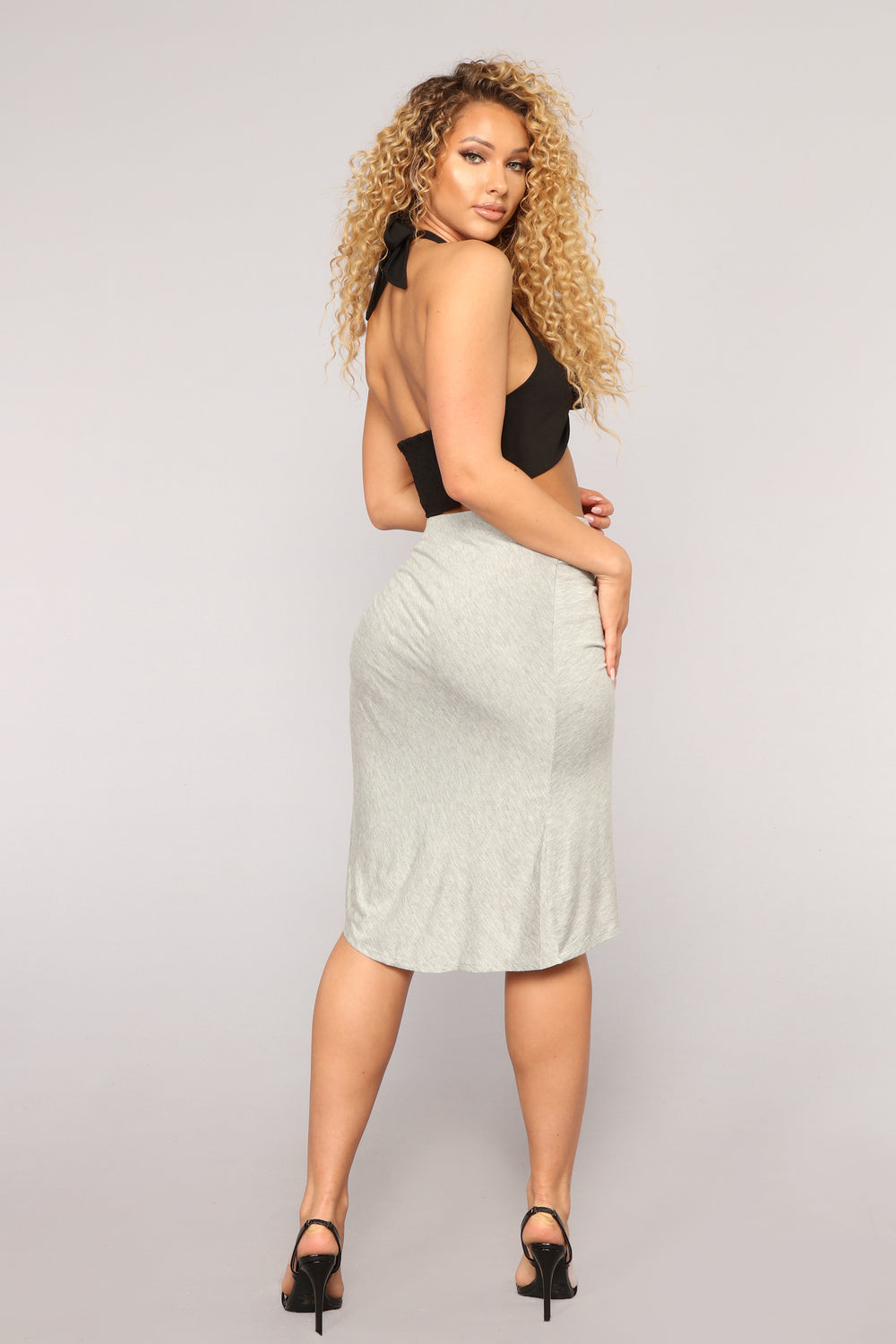 Madyson Draped Skirt - Grey