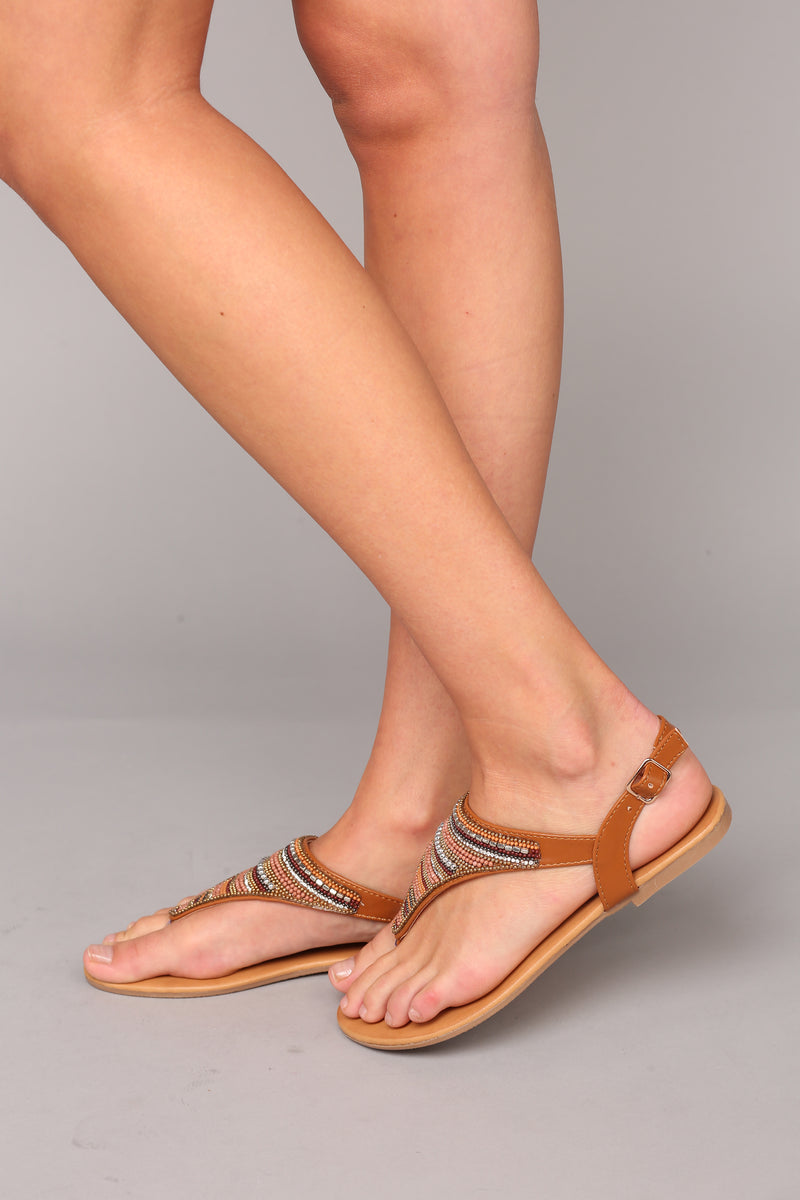 Beaded Business Sandals - Tan