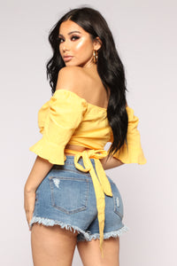 Havanna Wrap Crop Top - Yellow