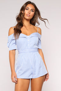Find Your Groove Stripe Romper - White/Blue