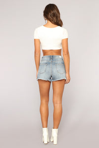 Anything But Square Short Sleeve Crop Top - Ivory