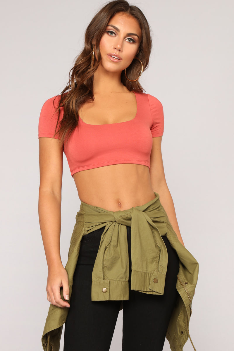 Anything But Square Short Sleeve Crop Top - Rust