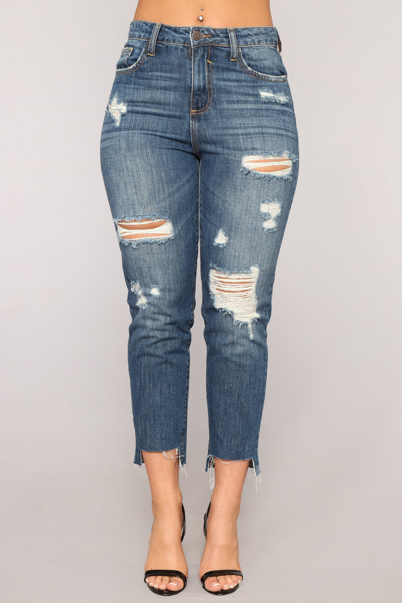 A Step Above High Rise Distressed Jeans - Medium Blue Wash