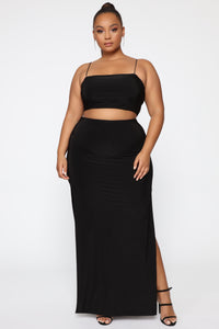 Mariah Slit Skirt Set - Black Angle 10