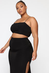 Mariah Slit Skirt Set - Black Angle 13