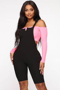 Lesson Learned Romper Set - Black/NeonPink