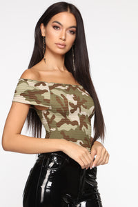Hiding My Emotions Smocked Top - Camouflage