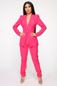 Style Entrepreneur Cut Out Suit Set - Fuchsia Angle 1