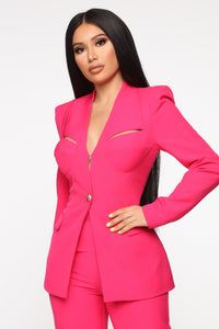 Style Entrepreneur Cut Out Suit Set - Fuchsia Angle 2