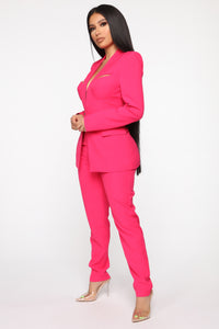 Style Entrepreneur Cut Out Suit Set - Fuchsia Angle 3