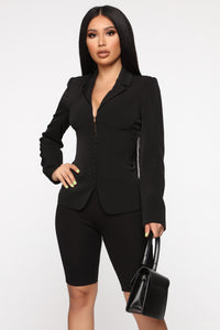 Straight To The Point Blazer - Black