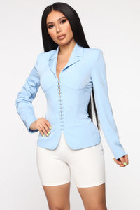 Straight To The Point Blazer - Light Blue Angle 1