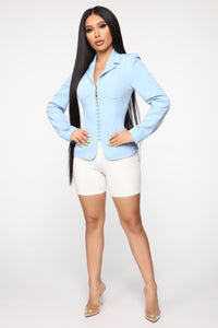 Straight To The Point Blazer - Light Blue Angle 2