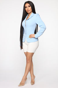 Straight To The Point Blazer - Light Blue Angle 4