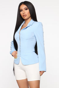 Straight To The Point Blazer - Light Blue Angle 3