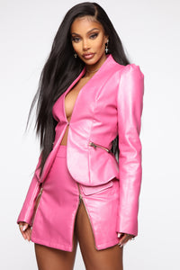 I Got The Drip Leather Jacket - Pink