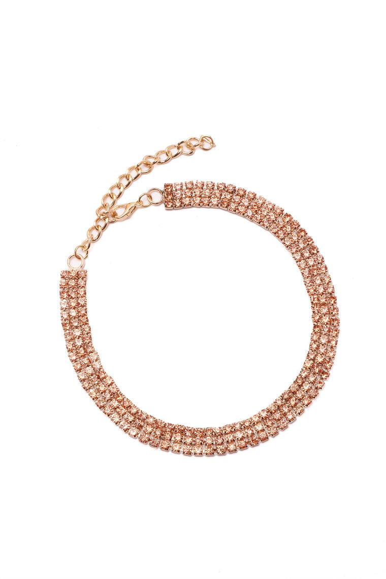 Diamond And Rust Choker - Rose Gold