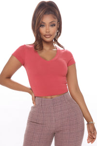 Little Do You Know Crop Top - Mineral Rose Angle 1
