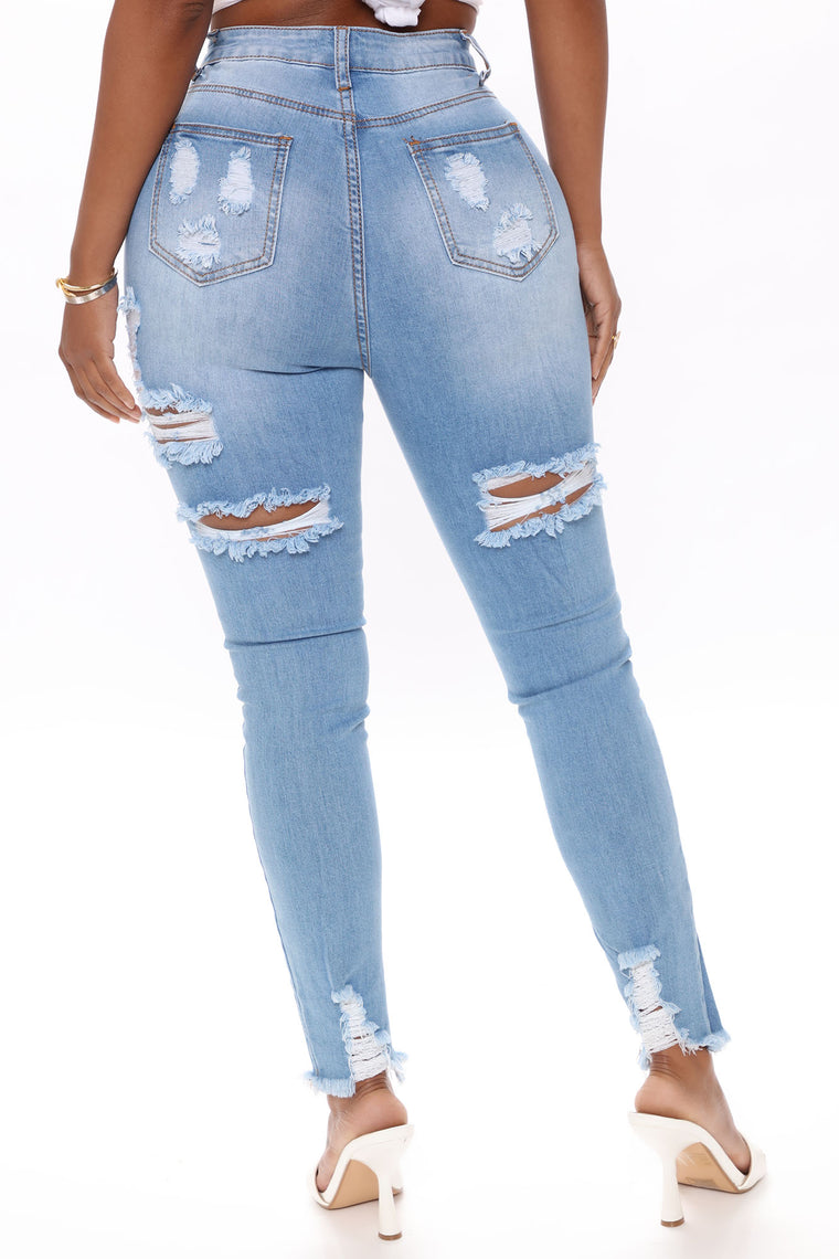 My Best Distressed Ankle Jeans - Medium Blue Wash