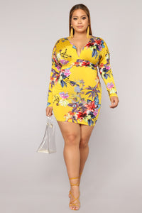 Amore Mio Floral Dress - Yellow