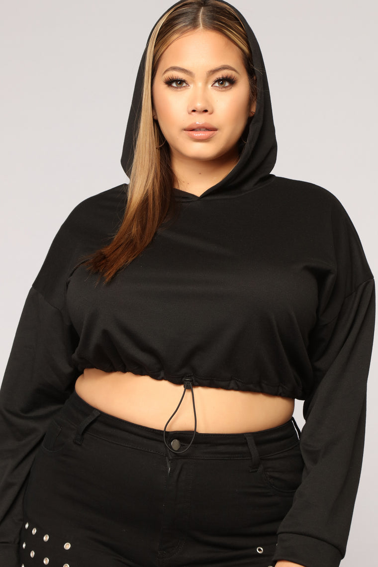 The Way You Work It Crop Hoodie - Black