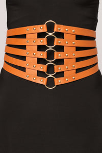 Caged Up Corset Belt - Brown