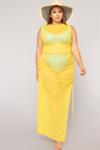 Away From Reality Coverup Dress - Yellow Angle 6