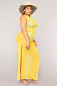 Away From Reality Coverup Dress - Yellow Angle 8