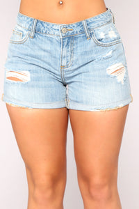 Wrap Around Denim Shorts - Light Blue Wash