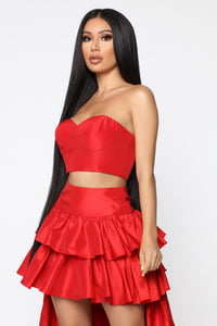 Crowned Queen Skirt Set - Red Angle 2