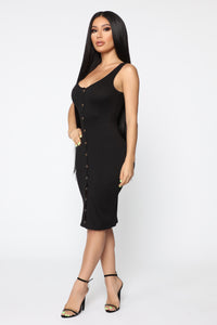 Love Puppy Midi Dress - Black
