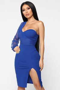 One Side Of The Story Midi Dress - Royal