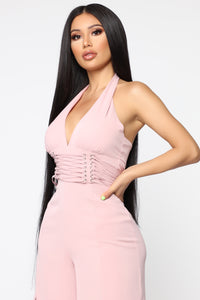 Only Want You Halter Jumpsuit - Blush