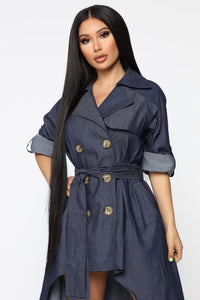 Walk Down Times Square Denim Dress - Dark Wash