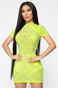Shine My Own Light Rhinestone Dress - Yellow