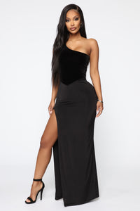 Always Winning One Shoulder Maxi Dress - Black Angle 1