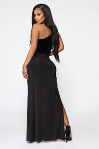 Always Winning One Shoulder Maxi Dress - Black Angle 4
