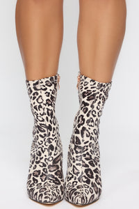 In The Shadows Booties - White Leopard