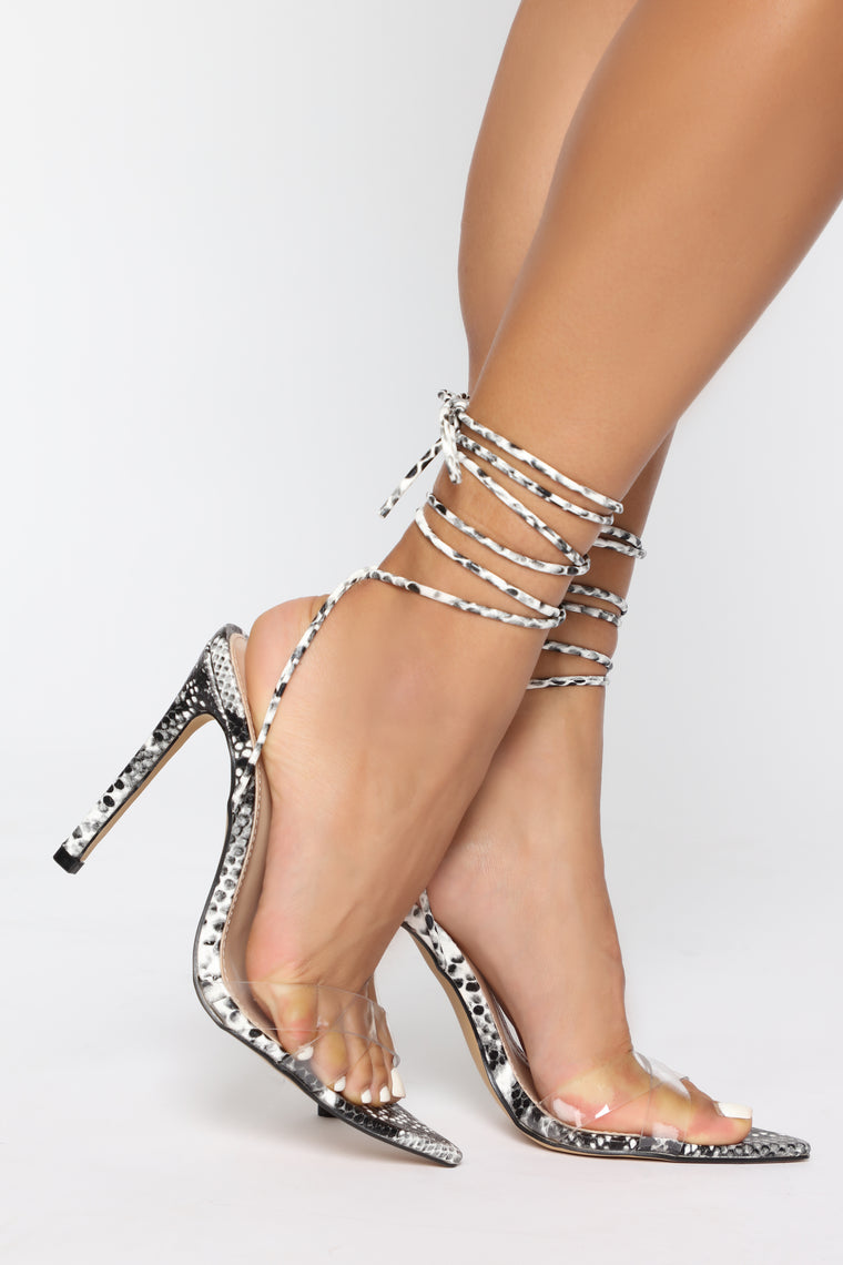Sweet Doll Heeled Sandals - Black Snake