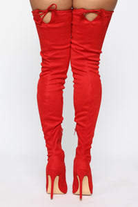 Vicky Over The Knee Boot - Red