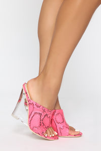 Step To It Heeled Sandal - Fuchsia Snake