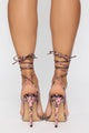 Sweet Doll Heeled Sandals - Pink Snake