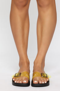 Beautiful Mess Flat Sandals - Yellow Angle 2