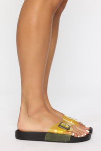 Beautiful Mess Flat Sandals - Yellow Angle 3