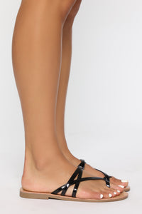 Potentially Yes Flat Sandals - Black Angle 3