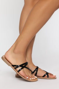 Potentially Yes Flat Sandals - Black Angle 1