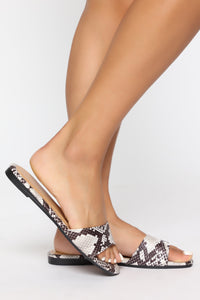 Not You Again Flat Sandals - Black Snake Angle 1